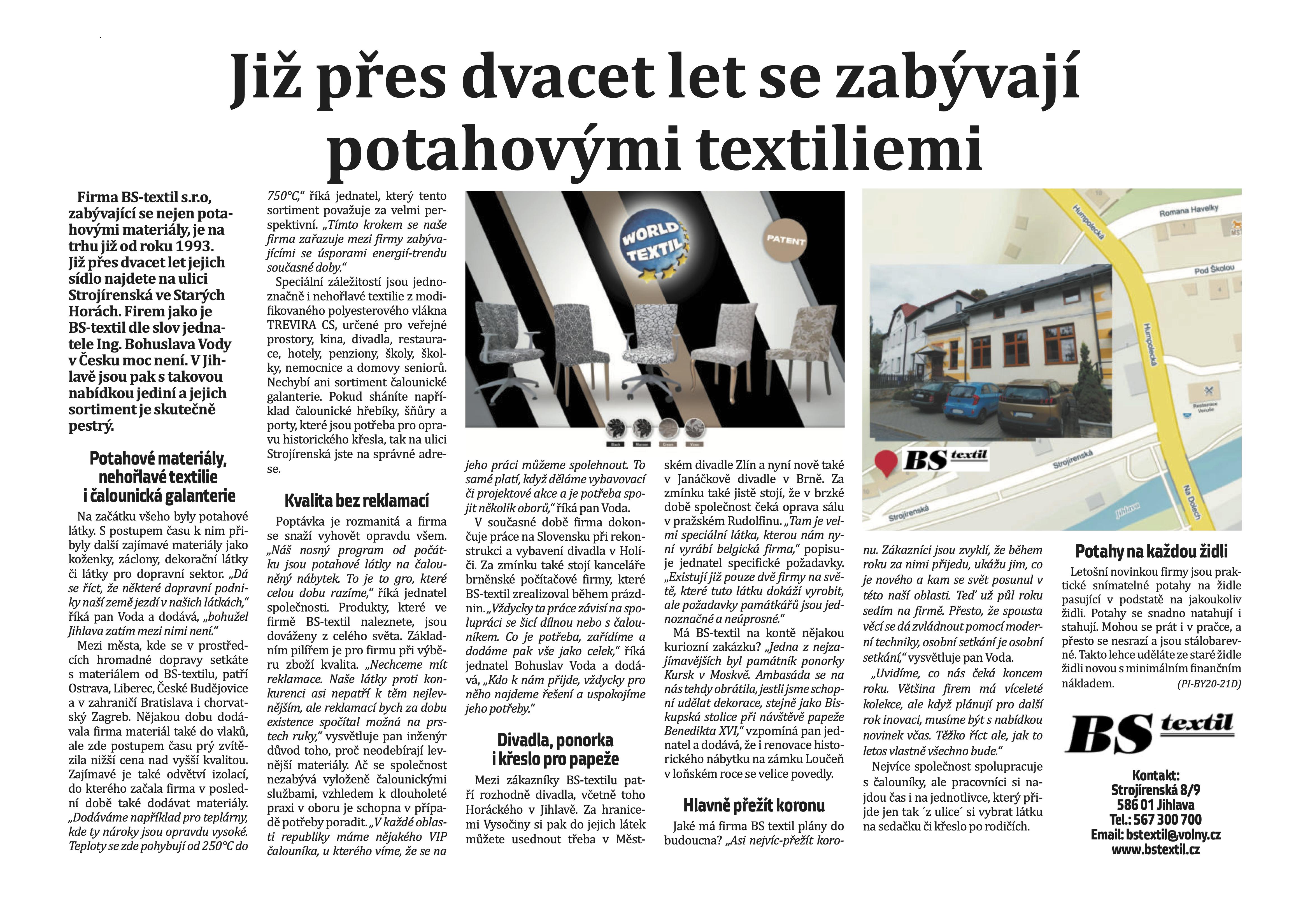 Reportáž o firmě BS-Textil v magazínu Jihlavských listů o bydlení